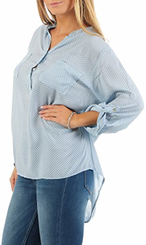 Malito Blouse Point 3/4 Tunique Haut Loose Oversize 9069 Femme Taille Unique bleu clair