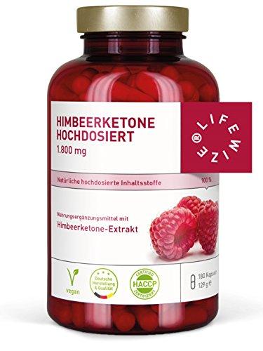 LifeWize® Himbeerketon Kapseln (Raspberry Ketone) - 1800 mg Keton Extrakt Tagesdosis - Made in Germany - Hochdosiert, Vegan & Ohne Zusatzstoffe
