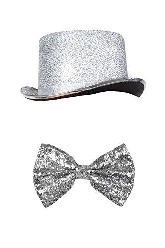 Silvester Outfit Zylinder Set (Silber Herren Kostüme)