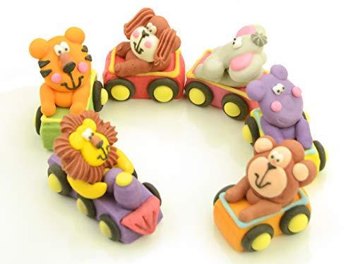 Tiere im Zug Zucker 6er Set (Auto Geburtstag Dekorationen)