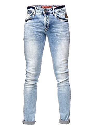 Rusty Neal Jeans Light Blue Pants Herren Jeanshose Hell Blau Verwaschen Slim Fit Stretch 44, Hosengröße:32/34