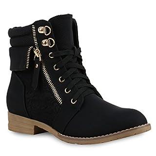 Stiefelparadies Damen Stiefeletten Schnürstiefeletten Leder-Optik Schuhe Spitzenstoff Boots Zipper Schnürboots 130895 Schwarz Spitze 39 Flandell