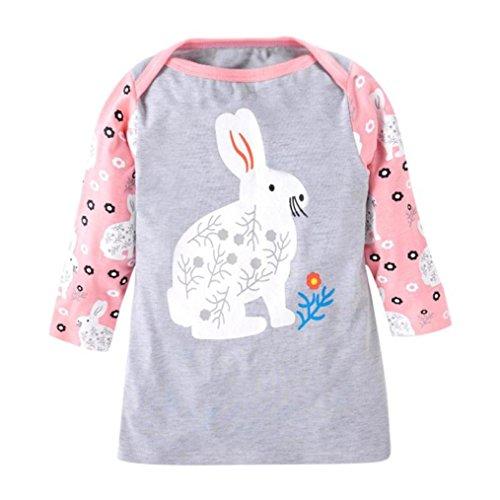 JERFER Mädchen Crewneck Langarm Casual Karikatur Stickerei Party T-Shirt Kleid Kinderkleider Festliche 2-8 T/Jahre (H, 3T)