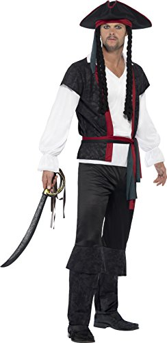 Xl Piraten Adult Kostüme (Smiffy's 45492XL - Herren Piraten Kapitän Kostüm, Oberteil, Hose, Band und Hut mit Zöpfen, Größe: XL,)