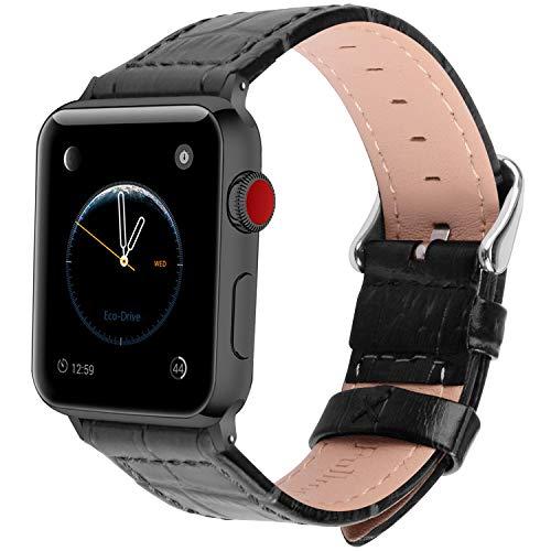 Fullmosa 2 Farben für Apple Watch Armband 38mm, Bambus Textur Hauptschicht Rindsleder Lederarmband mit Edelstahlschließe für Apple Watch Series 1 Series 2 Series 3, Schwarz 38mm Apple Farbe