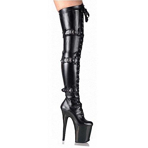 Donne lungo stivali High Heels ¨ ¹ BER ginocchio modello fibbia in pelle Super Notte Club Pole Dance Performance Scarpe, BLACK1-41 BLACK2-38