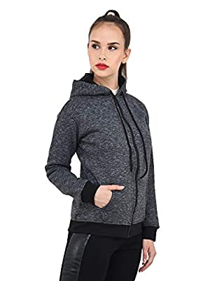 DIMPY GARMENTS BuyNewTrend Dark Grey Woollen Sweatshirt for Women with Hoodie
