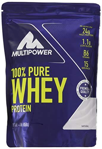 Pure Protein Vanille Vitamine (Multipower 100% Pure Whey Protein, lösliches Whey Proteinpulver ohne Aspartam und Gluten, enthält essentielle Aminosäuren (BCAA), Eiweißpulver zum Backen und Kochen, Neutral, 450 g)
