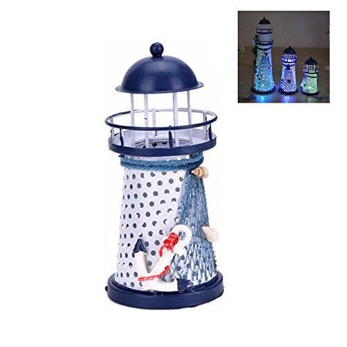 Pawaca LED Laterne Nachtlicht, Metall Vintage Openwork Ocean Leuchtturm Hochzeitslampe, Mediterranen Stil Leuchtturm, Kinder Leuchtturm Dekor Licht Haus Dekorationen -