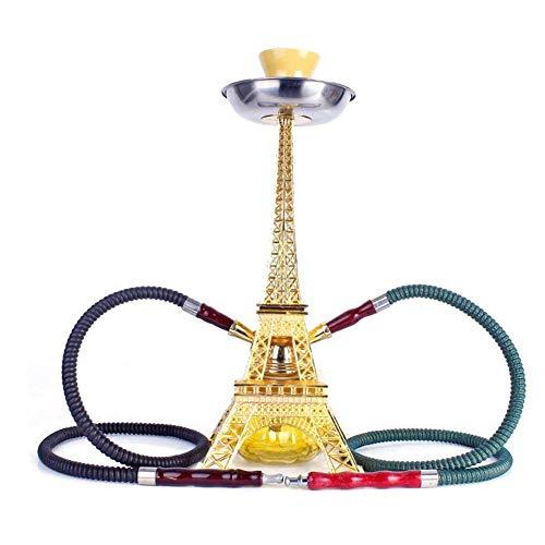 Hensdd Pipas De Agua De 16 Pulgadas Set, 2 Manguera Torre Eiffel Metal Modelo Cachimba Moderna Juego...