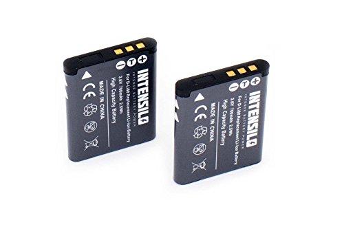 Intensilo 2x li-ion batteria 700mah (3.6v) per fotocamera videocamera toshiba camileo px1686, sx-500, sx-900 sostituisce d-li88, vw-vbx070.