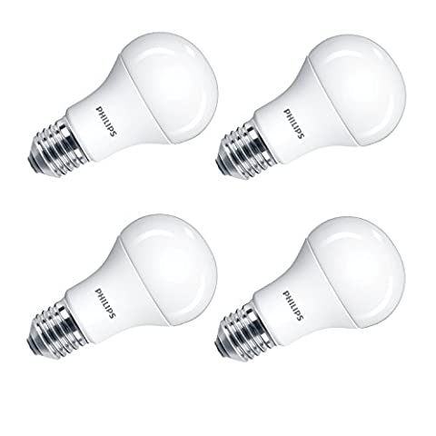 Philips LED A60 E27 Edison Screw Light Bulb, Frosted, 13 W (100 W) - Cool White, Pack of 4