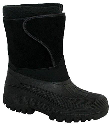Regenfeste, stabile und warme Damenstiefel zum Reiten und für den Stall, geeignet für Regen, Schnee und Winter Schwarz