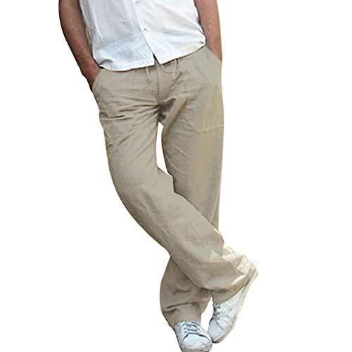 Herren Leinenhose Sporthose Lang GreatestPAK Leinen Jogginghose Plus Size Taschen Hosen Nähen Drucken Arbeiten Freizeithosen,Grau,XXXXL
