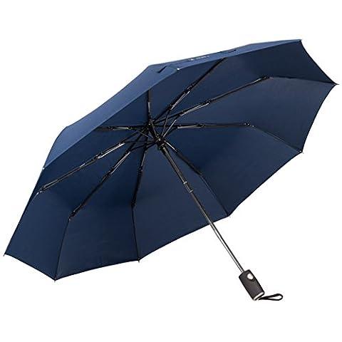 Regenschirm Taschenschirm mit Automatischer Öffnungs und Schließfunktion.Windfester Regenschirm, Kompakt, Leicht, Gestänge aus Kohlefasern.Taschenschirm 210T Stoff. Garantie (BLAU 9-Stäben L)