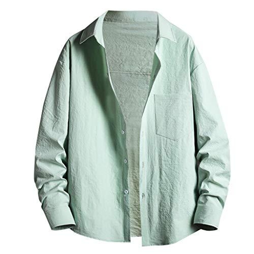 Aoogo Herren Hemd Langarm Slim Fit Strand Wind Alphabet Druck Freizeithemd Baumwolle Button Down Shirt