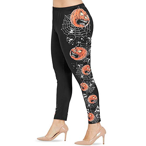 Soffice confortevole Plus Size Spinnennetz und Kürbislaterne Halloween Leggings Lace Up Skinny Pants Halloween Kürbis (Color : Schwarz, Size : 2X) -