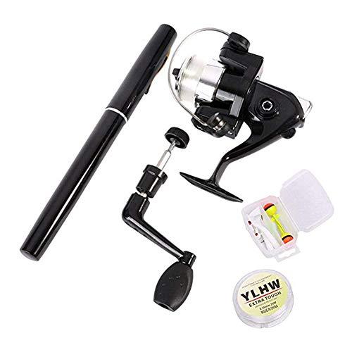 Azhoktd - mulinello portatile per canne da pesca per bambini, 39 pollici, mini canna da pesca tascabile, telescopica, in lega di alluminio, canna da pesca e esche da pesca, nero