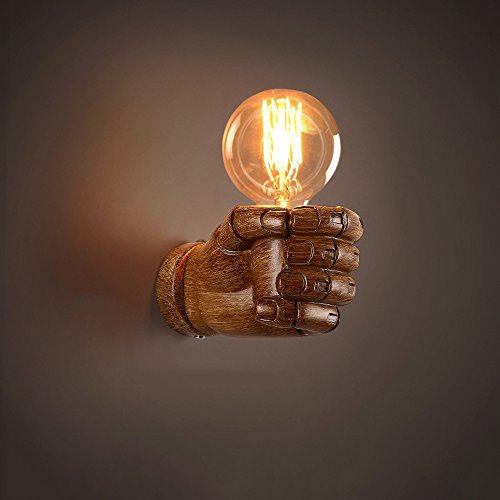 Vintage Loft Wandleuchte Harz Rechts / Links Hand Finger-Faust Wandleuchte Retro Industrial Tranditional Klassische Wandleuchte Laternen Flur Lampe für Home Kaffee Bar Club Schlafzimmer Wohnzimmer Leuchten (E27 Sockel / Spannung: 90v-240V) ( Color : LEFT HAND-BRONZE ) (Hand Sockel Linke)