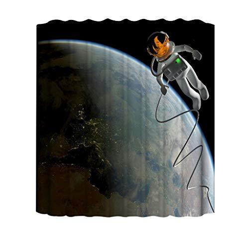 MDenker Neuer wasserdichter Duschvorhang mit 12 Haken aus 3D-bedrucktem Bad-Polyester Leaves Duschvorhang   Designer Duschvorhang in der Größe schickes Duschvorhang Motiv mit Blättern