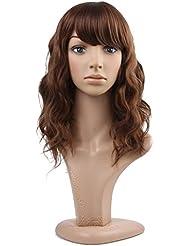 MelodySusie® Perruque pour Femme à Mi-longueur avec Légère Vague Brunâtre + Filet à Cheveux + Peigne Anti-statique