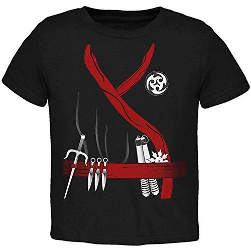 Halloween rot Clan Ninja Assassin Kostüm Kleinkind T Shirt schwarz Toddler Gr. (Ninja Kostüme Kleinkind Schwarze)