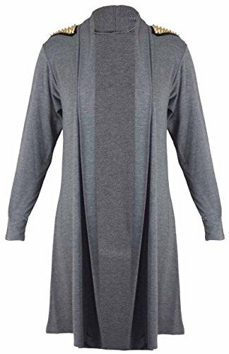 Purple Hanger - Damen Nieten Bestücktes Schulter Top Langarm Strickweste Dunkel Grau