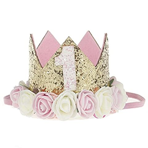 SUPER-BAB Festival Birthday Party Lace Letter Flower Crown Headband DIY Rose Gift Children Girls Hair Accessories (Pink and White Flower