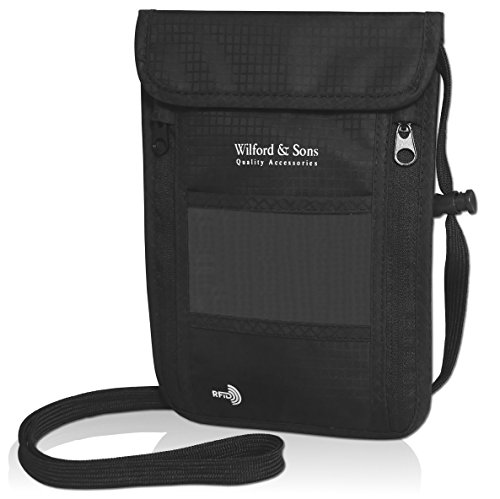 Pochette tour de cou + bloqueur RFID anti-vol - Porte-monnaie avec bandoulière pour les voyages | Sacoche hydrofuge | Pour les cartes bancaires et le passeport | Femme, homme, enfant