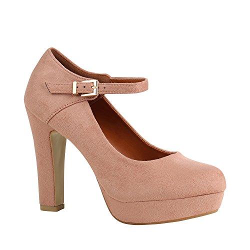 Stiefelparadies Damen Schuhe Pumps Mary Janes Blockabsatz High Heels T-Strap 157037 Rosa Brito 38 Flandell