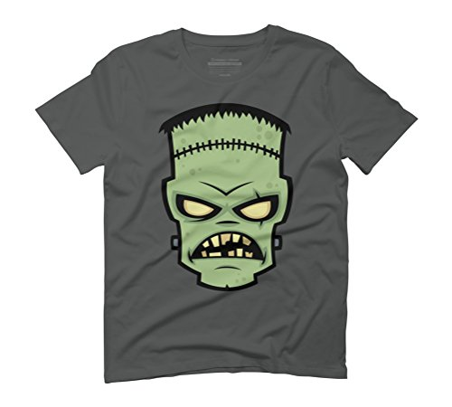 Frankenstein Monster Men's Medium Anthracite Graphic T-Shirt - Design By - Halloween Cartoon Frankenstein