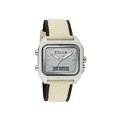 D&G Dolce&Gabbana Men's Quartz Watch with Silver Dial Analogue Display and Beige Strap DW0298 D&G