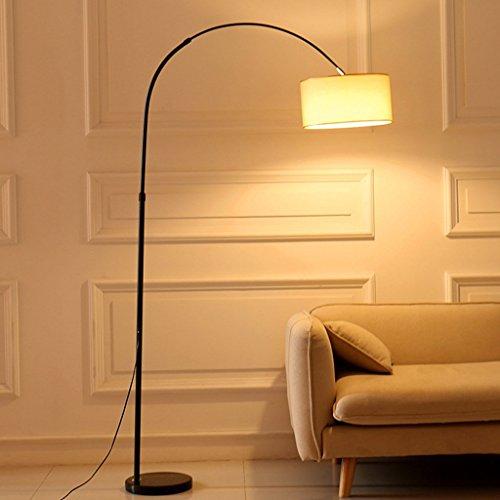 HU HAO UK Stehlampe- LED Stehleuchte - Klassische Verstellbare Stehlampe mit Hanging Shade und Marmor Base - Classic Black (Farbe : Leinenfarbe)