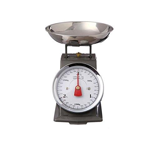 AC-Déco Bilancia da cucina meccanica, Vintage, con guscio a scomparsa, fino a 3kg, Grigio