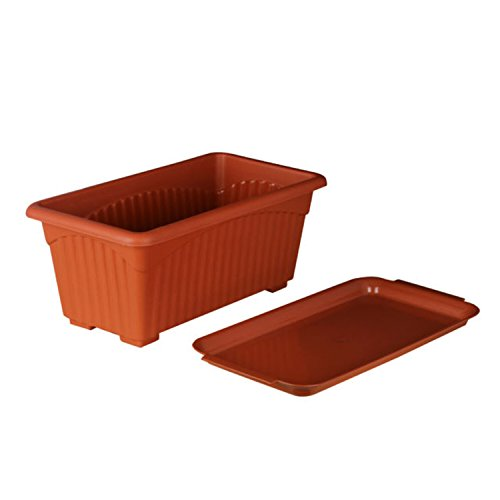 First Smart Deal Plastic Rectangle Pot Set (13-inch, Brown, Pack of 3)