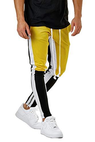 Hakjay Herren Trainingshose, Skinny - Gelb - XXX-Large (Größte Abfall-taschen)