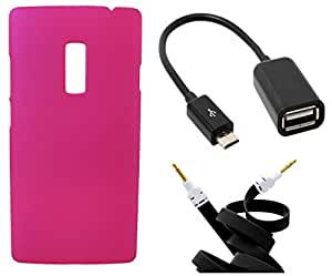 XUWAP Hard Case Cover With OTG Cable & Aux Cable For OnePlusTwo - Pink
