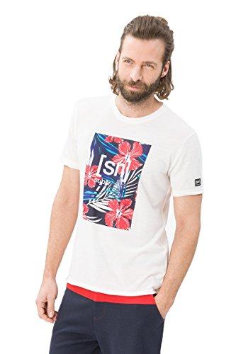 super.natural Leichtes Herren Kurzarm T-Shirt mit Logoprint, Mit Merinowolle, M DIGITAL GRAPHIC TEE 140, M, Weiß -