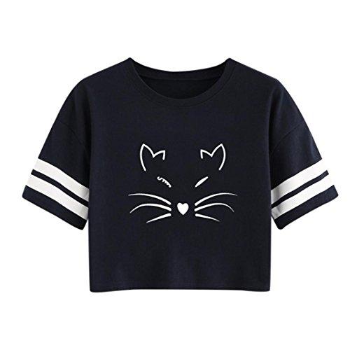 ESAILQ Damen Rundhals Kurzarm T-Shirt Tops mit Allover Anker Print Frauen Casual Druck T-Shirt(M,Schwarz)