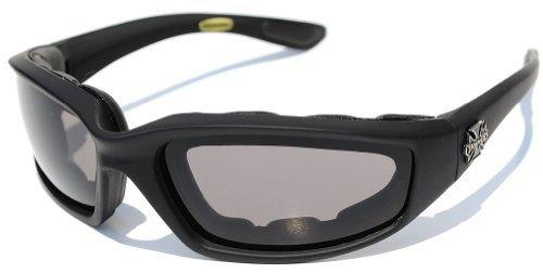 Choppers Fahren Nacht Gepolsterte Motorradbrille 011 Schwarz Rahmen Mit Gelben Linsen Reiten Für Herren (Schwarz - Rauch-Objektiv) -