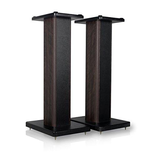 minify BS-S8-1 Paar 52cm MDF Boxenständer in nussbaum/Lederoptik-Finish - ideal für Boxen mit Holzdekor