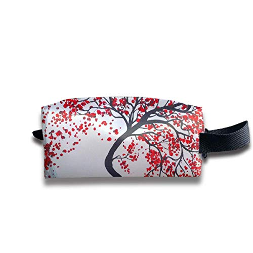 Makeup Cosmetic Bag Red Plum Blossom Tree Painting Travel Make-Up Bags Pen Case Portable Storage Multi - Eye Pencil Plum