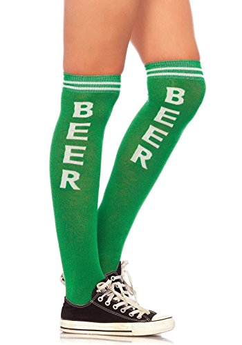 Leg Avenue 5610eine Größe 6bis 12grün/weiß Bier Zeit Athletic Woven Knie Socken mit Elastic Manschette (Grüne Strumpfhosen Adult)