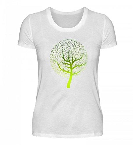 Shirtee Hochwertiges Damen Organic Music Tree Weiß
