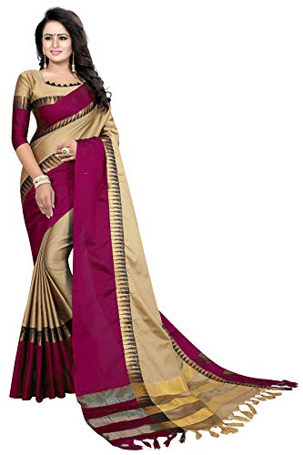 PerfectBlue Cotton Saree with Blouse Piece (TempleVariation_Cream_Free)
