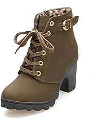 Botines De Altos Tacón Mujer,Piel con Plataforma Ante Forrados Cordones 8 Cm Zapatos Moda Otoño Invierno Comodos Negro Verde…