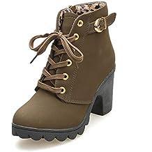 618fadaaea9 Botines De Altos Tacón Mujer,Piel con Plataforma Ante Forrados Cordones 8  Cm Zapatos Moda