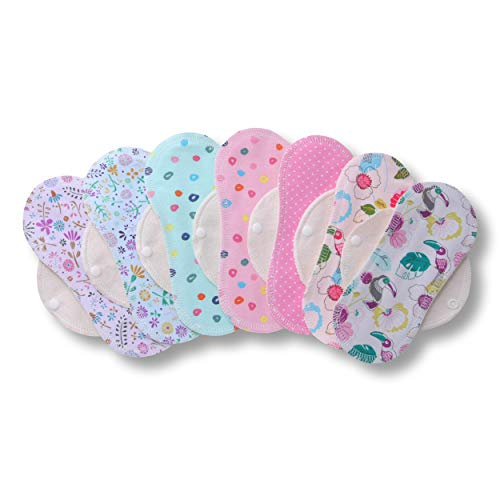 Salvaslip Lavabili di cotone, in pacchetto da 7 pezzi, PRODOTTI IN EU; assorbenti igienici in tessuto naturale per l'uso quotidiano e per scarico vaginale bianco; non irritabile