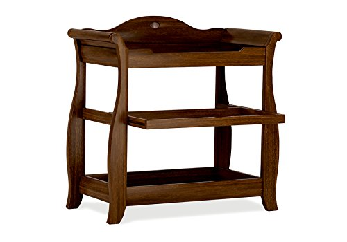 Boori Sleigh Changer, English Oak Boori Sleigh design to match similar styled cot beds 3 tiers with slide out middle shelf Perfect for holding all baby's nappies and toiletries 2