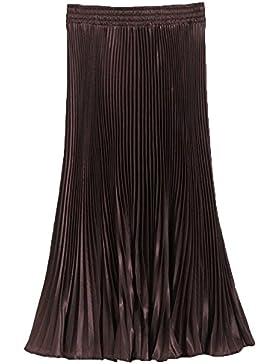 Mujeres metálico lustre brillante retro faldas plisadas Highdas